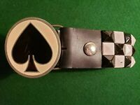 2001 Ace of Spades Round Pewter Belt Buckle Great American Products 4605 & Belt