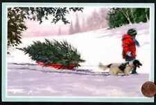 Christmas Tree Child Dog Puppy Sled Snow - Glittered - Christmas Greeting Card