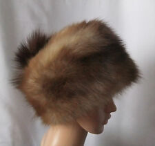 Vintage Genuine Stone Marten Fur Women's Zhivago Pillbox Style Hat, Small