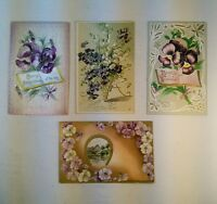 Vtg Lot of 4 Early 1900's Germany Victorian Embossed Flowers Birthday Postcards