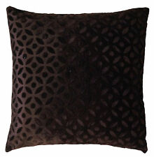 "16"" Brown Velvet Cushion Pillow Cover Sofa Couch Throw Indian Ethnic Decorative"