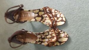 new unworn michel ambers high heel sandals brown suede mother pearl 39