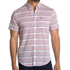 Original Penguin Men's Short Sleeve Stripe Print Button Front Shirt Surf The Web