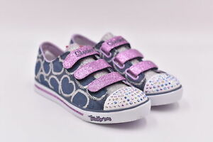 Youth Girl's Skechers S Lights Sparkle Glitz - Heartsy Glam Sneakers, Denim, 2M