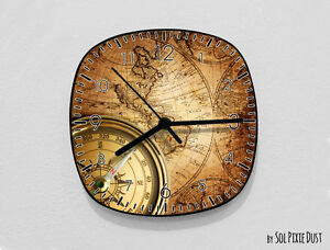 Vintage World Map Compass Wall Clock