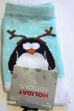 Penguin with Reindeer Antlers Holiday Socks Women's Shoe Size 4 to 10 NEW