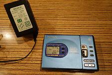 Sony Blau Minidisc Player Rec, mit Netzteil + Akku