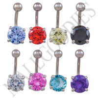 V137 Solid Gem Belly Navel Ring Clear Turquoise Pink Red Purple Blue Black Yello