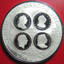 1977 TURKS CAICOS 50 CROWNS 1.62oz SILVER PROOF KING GEORGE III CAMEOS MINT=958!