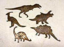 "Lot of 5 Dinosaur Shapes T-rex Bronto Stega Tri 3-6"" Rusty Metal Vintage Crafts"
