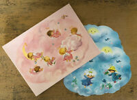 Vintage Angels Pink Blue Clouds Cheer Up Card Box 2 Cards Cloud 10