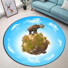 "Flannel Round Mat Elephant Floor Decor Non Slip Blue Area Rug Diameter 24"""