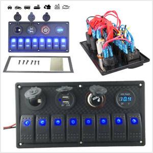 8 Gang Blue LED Rocker Switch Panel Circuit Breaker Fit For Car RV Boat Marine