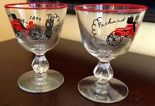 New listing Vintage 2 Libbey 1899 Packard Automobile Cordial Wine Glasses Red Rim Glass Euc