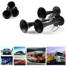 12/24V 150db Car Truck Train Air Horns Kit 3-Trumpet Durable Metal Triple Sound