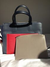 navy blue 100% italian leather hand bag by Marco Tripoli