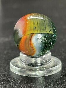 "Peltier Marble  PELTIER Multi Color Clear Base Rainbo Vintage Marble 0.629"""