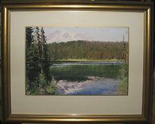 Xiaogang Zhu Impressionist Mountain Lake Gouache Chinese/American Western Artist