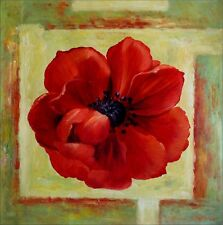 Giant Red Poppy Series 12, Ex. Large Modern Hand Painted Oil Painting 30x30in