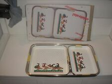 Vintage Christmas Geese 3-Piece Lacquerware Tray Set