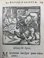 L'âne et le sanglier 1682 Rare Gravure sur Bois Fables d'Esope
