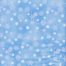 Snowflakes Snow White Blue Landscape Medley Quilt Sew Fabric ELIZABETH'S STUDIO