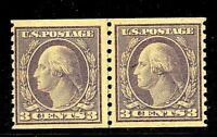 [FB]  US #493 ~ MNH 1916 3c Type I  Violet ~ Perf 10V SL Wmk Coil Line Pair
