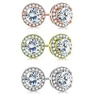 3.44 CT Halo Round Stud Earring with Swarovski Crystals ITALY- 3 Options