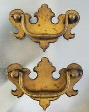 Vintage Pair Brass Chippendale Drawer Pulls Handles Reclaimed Furniture Hardware