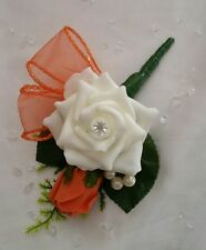Orange Ivory Wedding Pin Corsage Buttonhole Grooms Guests Bouquet Flowers Beads