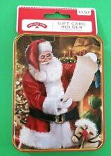 New Holiday Time Christmas Gift Card Holder - Tin Box - Nwt - Santa Design