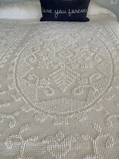 Vintage White Cotton Hobnail Twin Bedspread