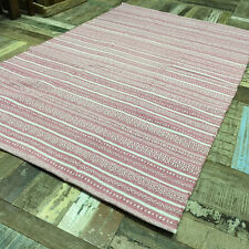 ❤️Cotton Kilim Rug White Pink Geometric Stripe 120cm x 180cm Flat Weave Indian