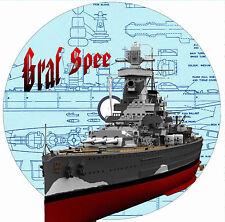 "Model Boat Plan 1:192 & 1:300  38"" & 24"" Scale Radio Control Graf Spee Plan Note"