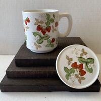Vintage Strawberry Vines  Mug With Lid Japan
