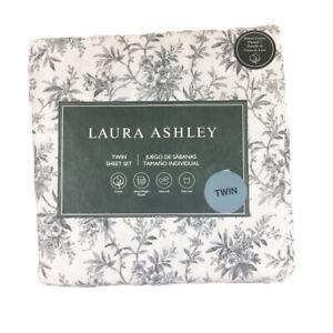 Laura Ashley Faye Toile 100% Cotton Flannel TWIN Sheet Set Ultrasoft Black Toile