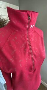 Under Armour Cold Gear Women's PINK 1/2 Zip Pullover Jacket W/ Flecked Design