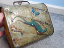 Antique Huntley & Palmers Biscuit Tin 1902 Lunch Box ~ Lizard & Butterfly Design