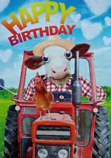 Farm Cow Red Tractor & Chicken Funny Birthday Card 3D Goggly Moving Eyes, Farmer