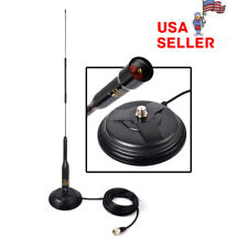 """SO-239 4.3"""" Magnetic Magnet Mount 5m Cable RG58 + VHF UHF Car Mobile Antenna USA"""