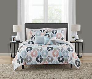 Mainstays Reversible Marble Diamond 10-Piece Bed in a Bag Bedding Set w/BONUS Sh