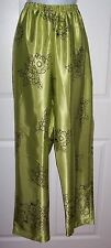 Women's Size Large Lounge Pants Lime Green with Black Flower Print