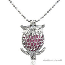 K17 Silver Animal Owl Diffuser Pearl Cage Floating Locket Necklace Steel Chain