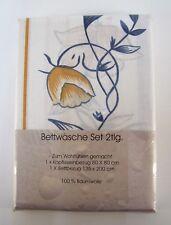 Bettwäschegarnitur 2-teilig 100 % Baumwolle NEU