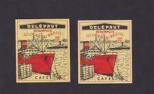 Ancienne étiquettes de paquet Allumettes Belgique BN22398 Café Delépaut Bateau