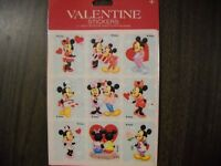 Vintage Gibson Sticker  Pack 1980's 1990's Valentine Mickey 3 Sheets per Package