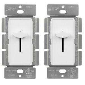 Slide Dimmer Light Switch Single Pole 15A 120V Incandescent Control 700W 2 Pack