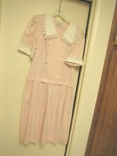 Vintage Nell Flowers L G Hook Cotton Maxi Dress Pink White Checks Large Collar