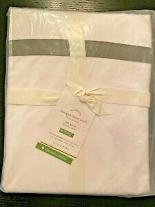 Pottery Barn Morgan Banded Organic Percale Duvet Flagstone Gray FULL QUEEN - NEW