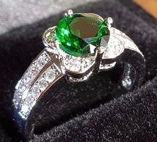green Emerald silver quartz  silver ring size 8 us